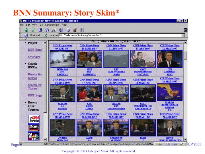 BNN Summary: Story Skim*
