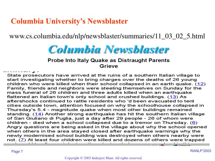 Columbia University's Newsblaster