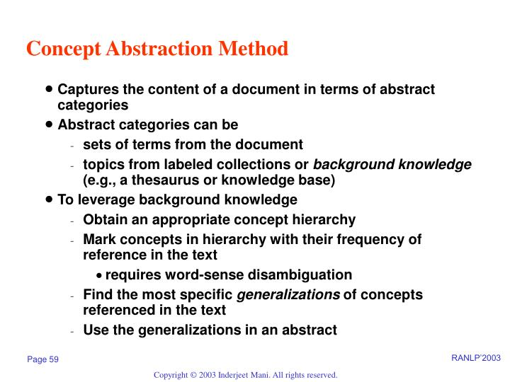 Concept Abstraction Method