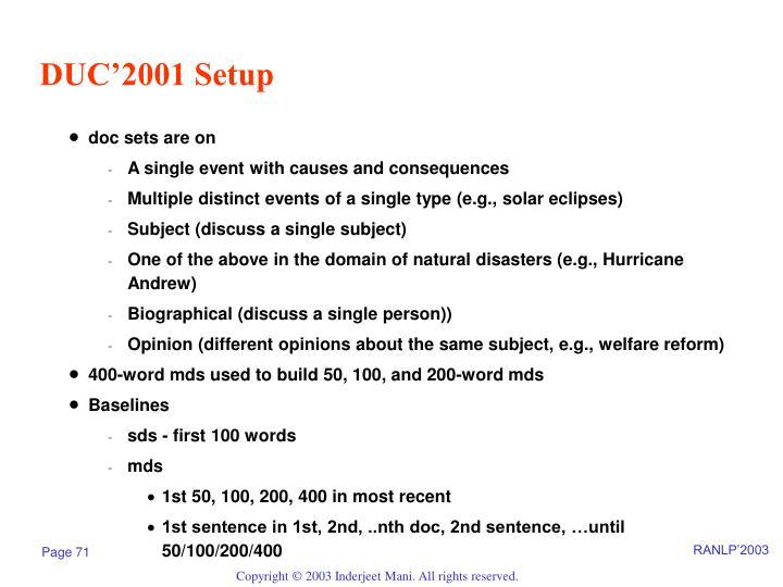 DUC'2001 Setup