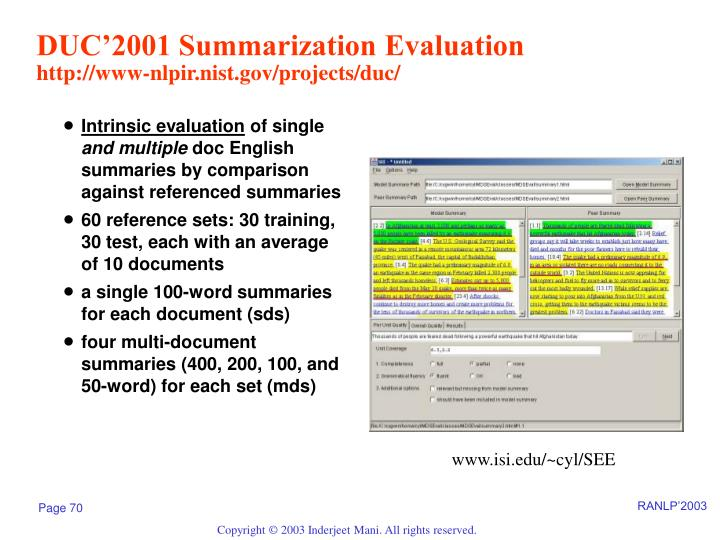 DUC'2001 Summarization Evaluation