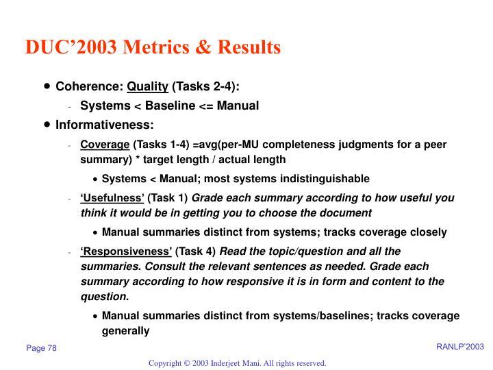 DUC'2003 Metrics & Results