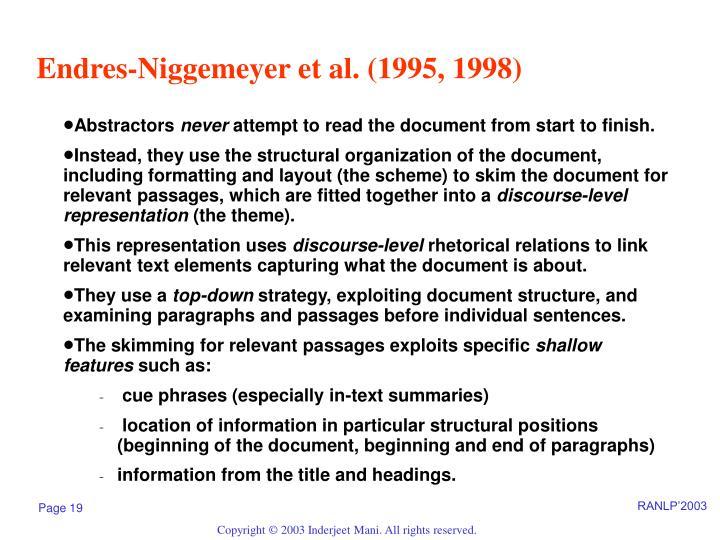 Endres-Niggemeyer et al. (1995, 1998)