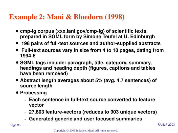 Example 2: Mani & Bloedorn (1998)