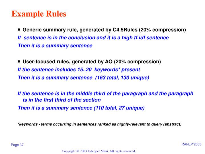 Example Rules