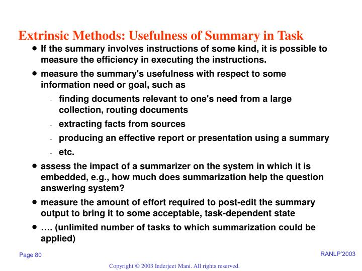 Extrinsic Methods: Usefulness of Summary in Task