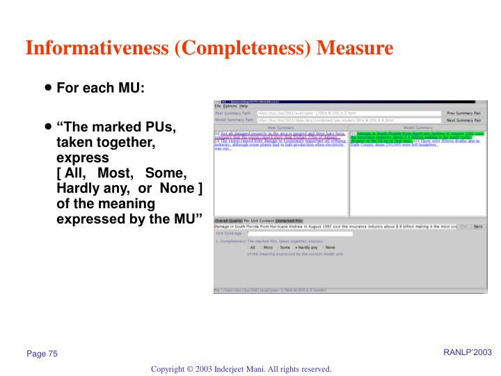 Informativeness (Completeness) Measure