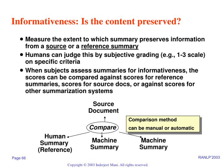 Informativeness: Is the content preserved?