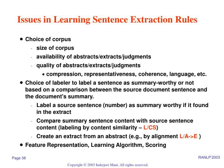 Issues in Learning Sentence Extraction Rules