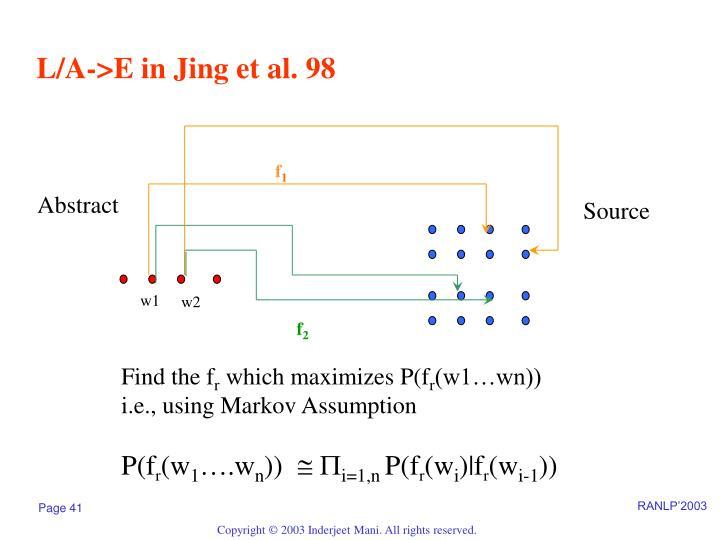 L/A->E in Jing et al. 98