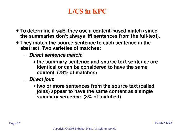 L/CS in KPC