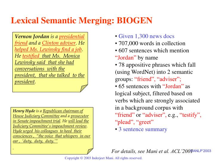 Lexical Semantic Merging: BIOGEN