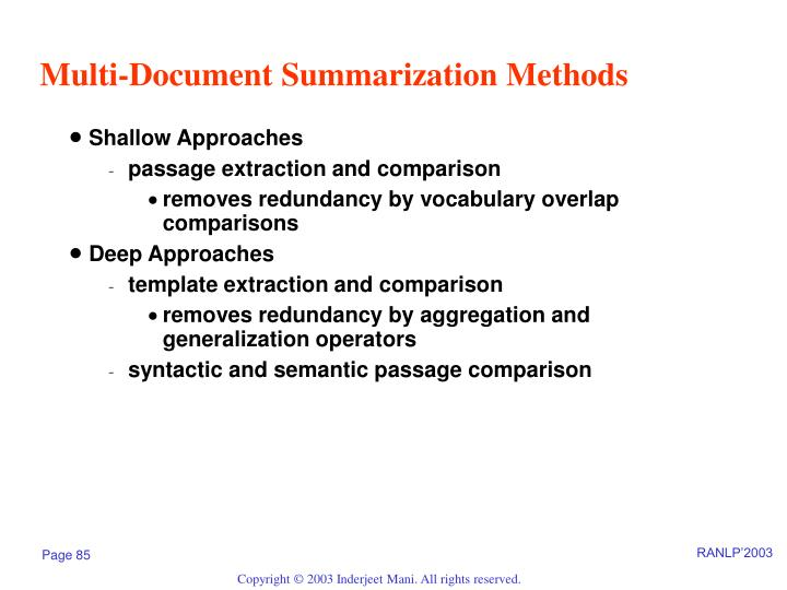 Multi-Document Summarization Methods