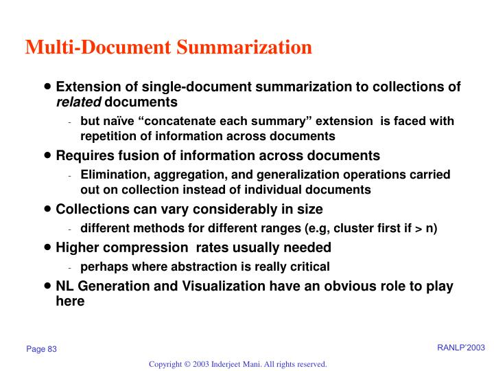 Multi-Document Summarization