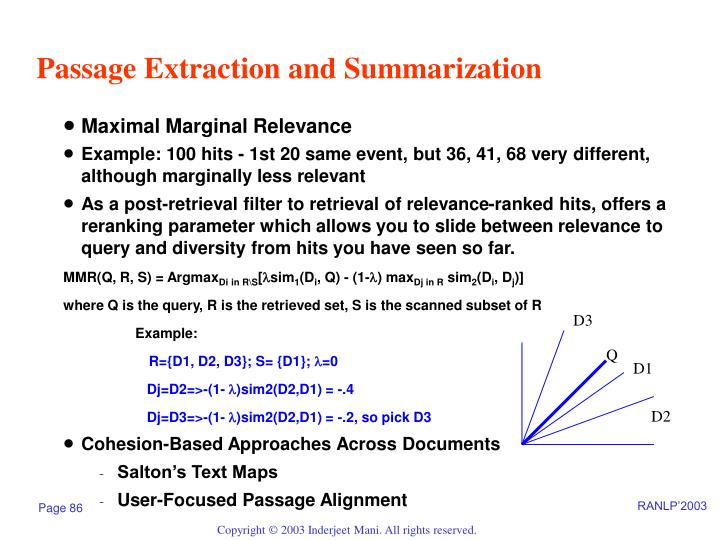 Passage Extraction and Summarization