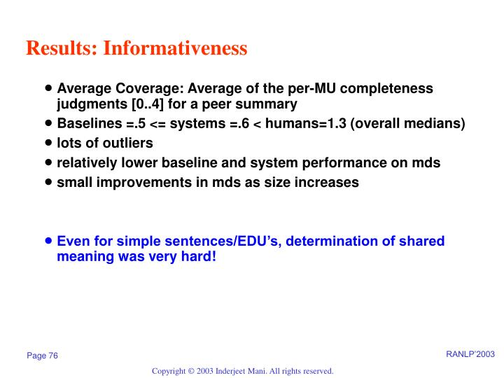 Results: Informativeness