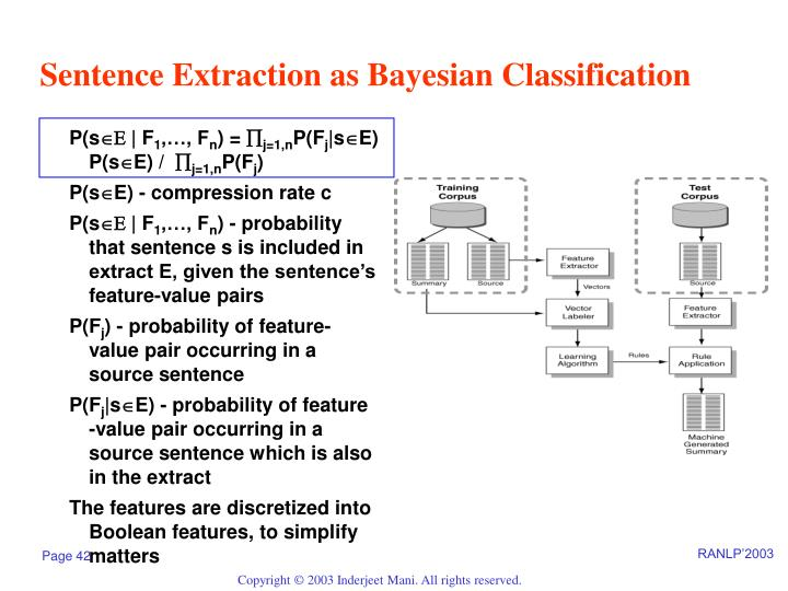Sentence Extraction as Bayesian Classification