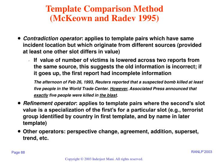 Template Comparison Method