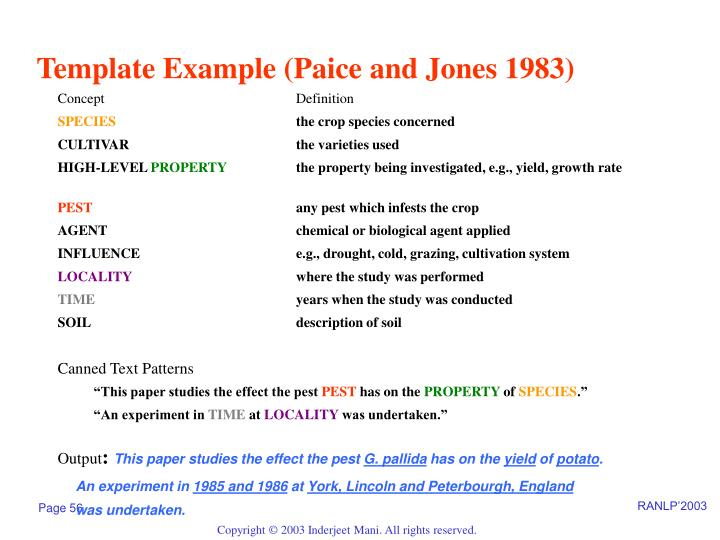 Template Example (Paice and Jones 1983)