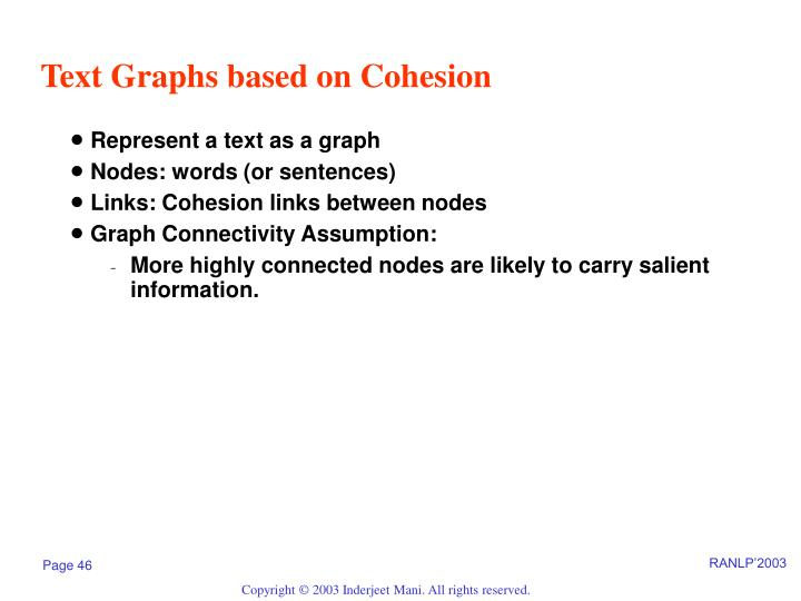 Text Graphs based on Cohesion