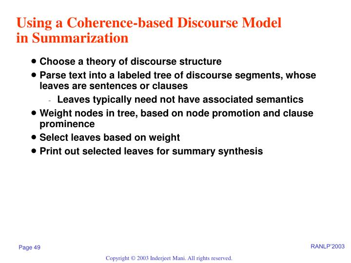 Using a Coherence-based Discourse Model