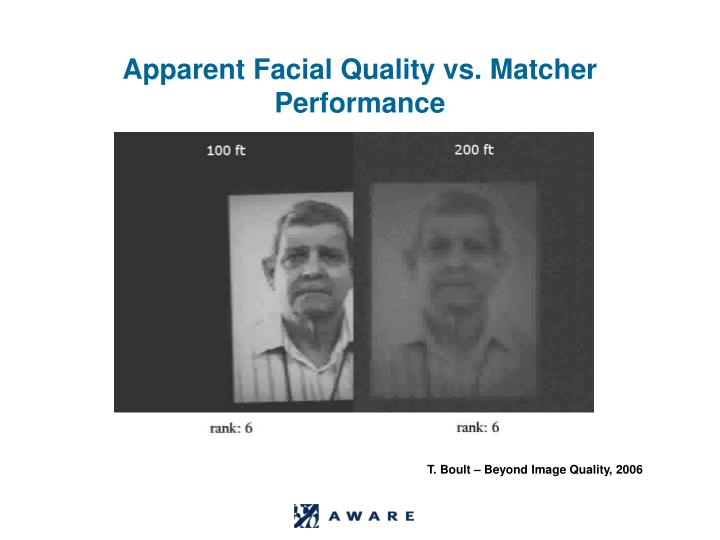Apparent Facial Quality vs. Matcher Performance