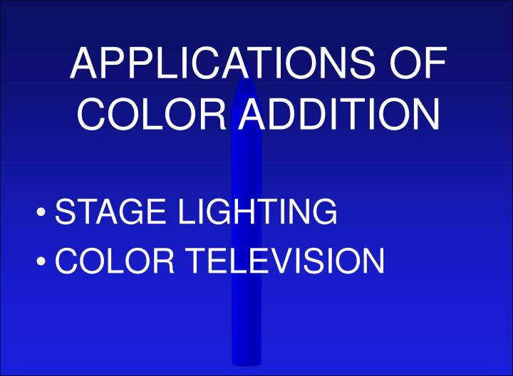 APPLICATIONS OF COLOR ADDITION