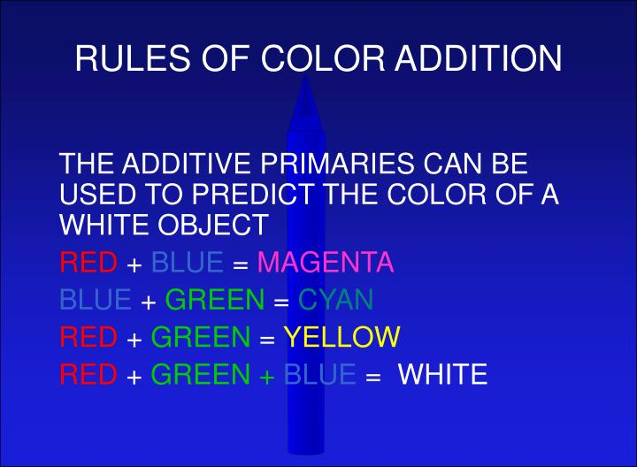 RULES OF COLOR ADDITION