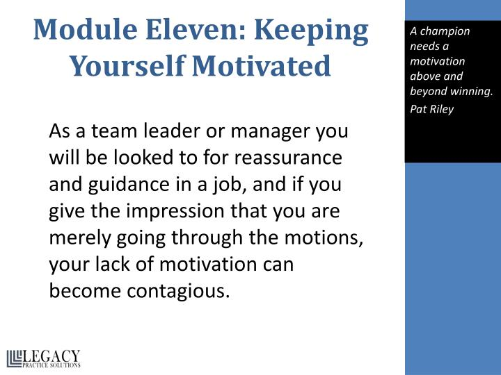 Module Eleven: Keeping Yourself Motivated