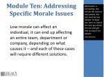 module ten addressing specific morale issues