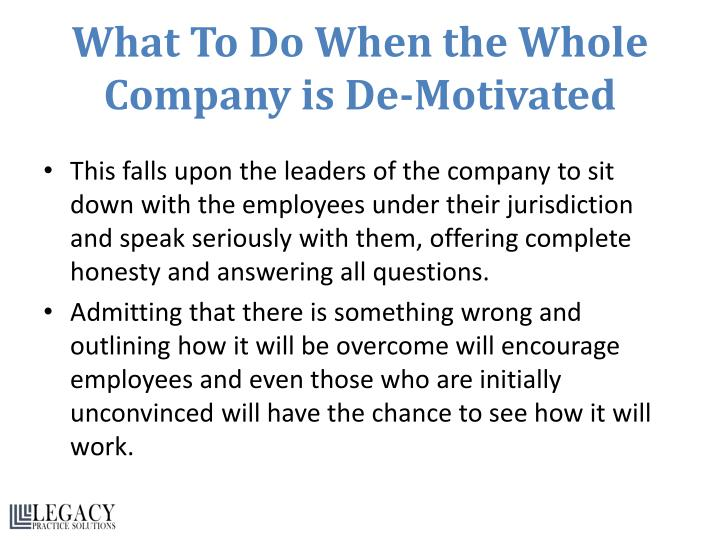 What To Do When the Whole Company is De-Motivated