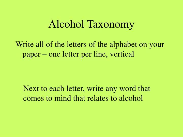 Alcohol Taxonomy