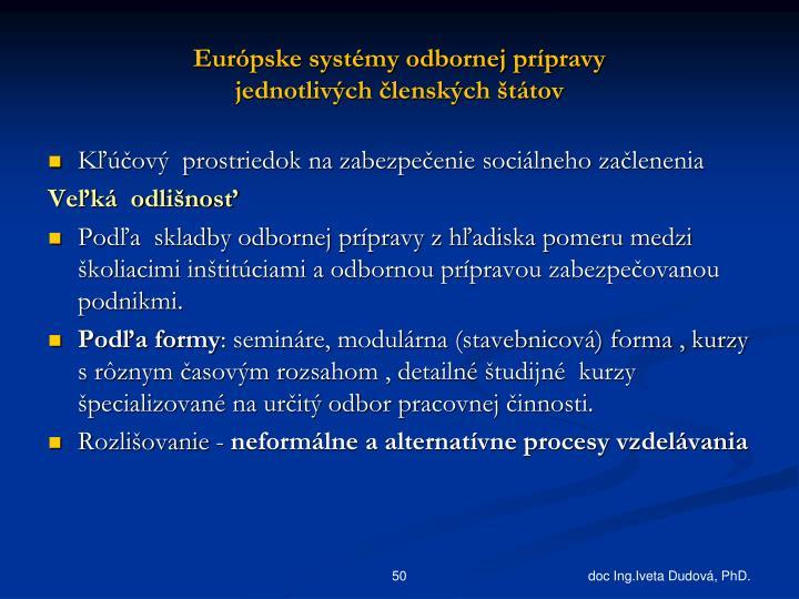 Európske systémy odbornej prípravy