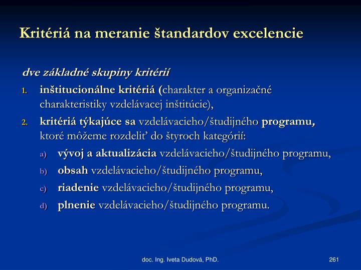 Kritériá na meranie štandardov excelencie