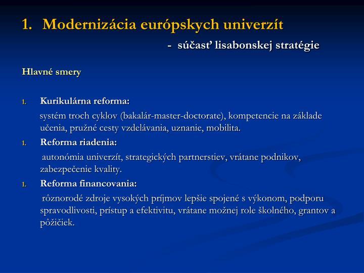 Modernizácia európskych univerzít
