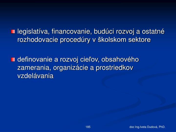 legislatíva, financovanie, budúci rozvoj aostatné rozhodovacie procedúry vškolskom sektore
