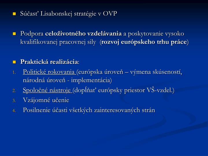 Súčasť Lisabonskej stratégie v OVP