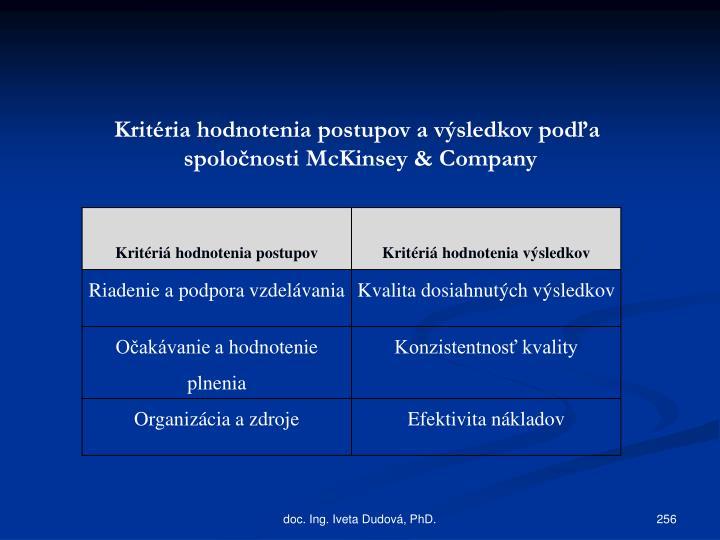 Kritéria hodnotenia postupov avýsledkov podľa