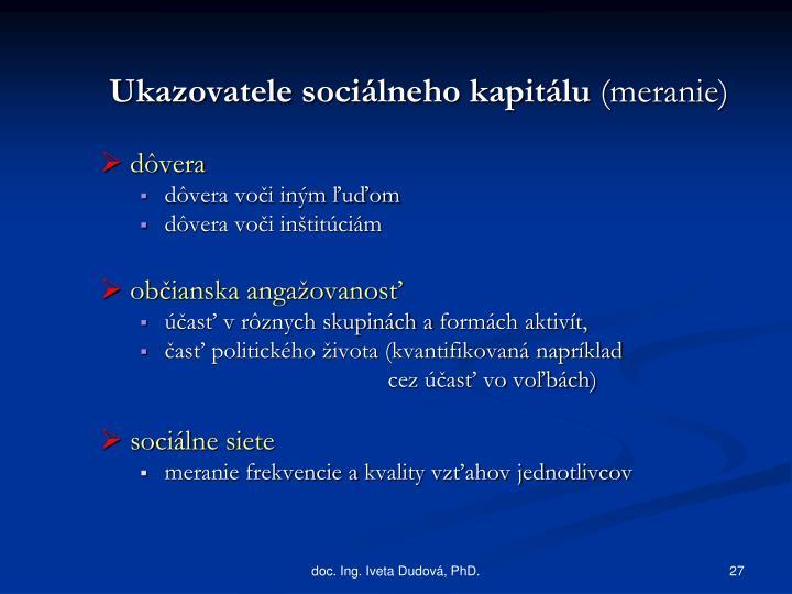Ukazovatele sociálneho kapitálu