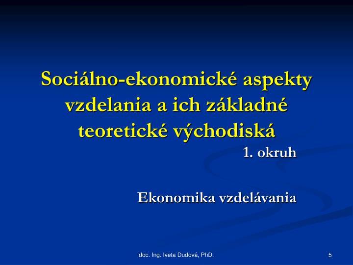 Sociálno-ekonomické aspekty vzdelania a ich základné teoretické východiská