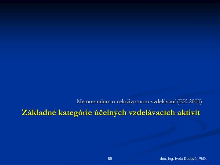 Memorandum o celoživotnom vzdelávaní (EK 2000)