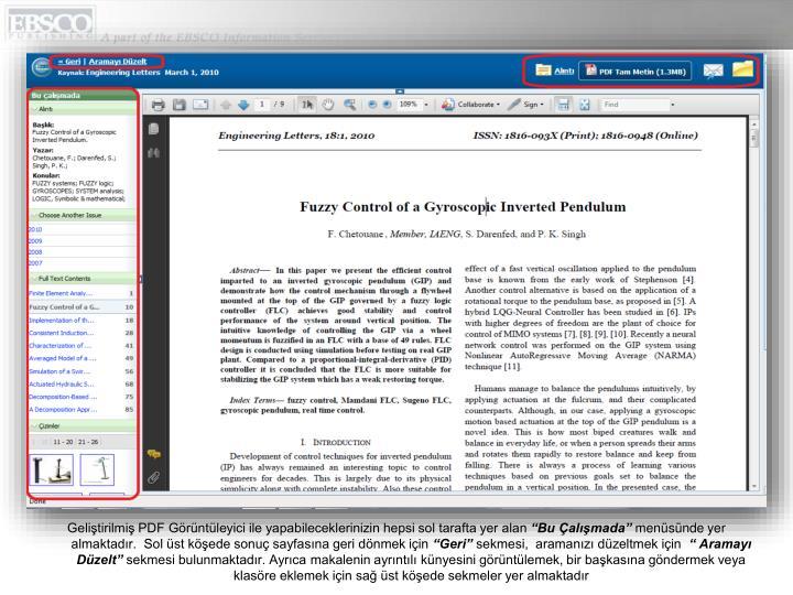 Geliştirilmiş PDF Görüntüleyici ile yapabileceklerinizin hepsi sol tarafta yer alan