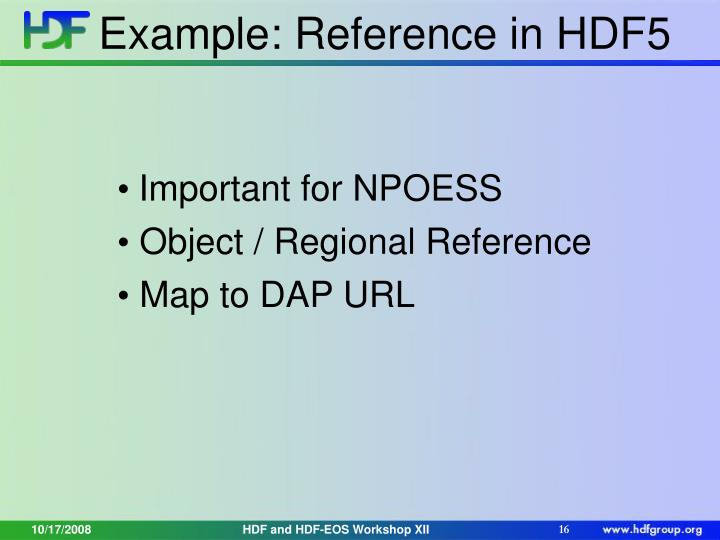 Example: Reference in HDF5