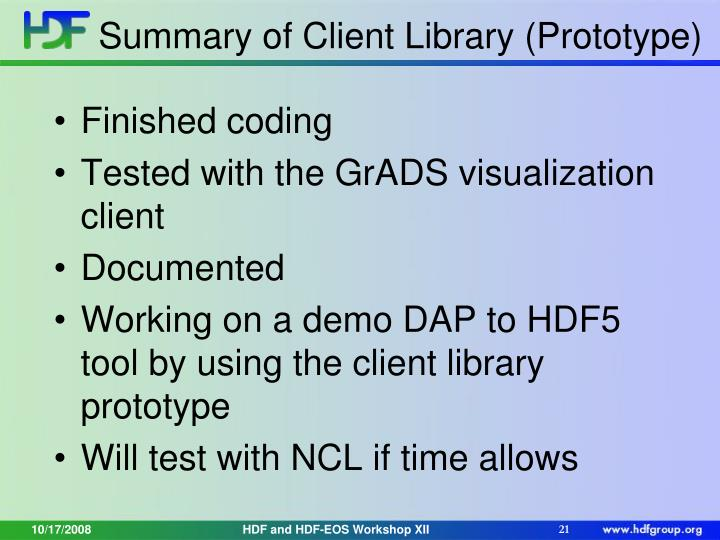 Summary of Client Library (Prototype)