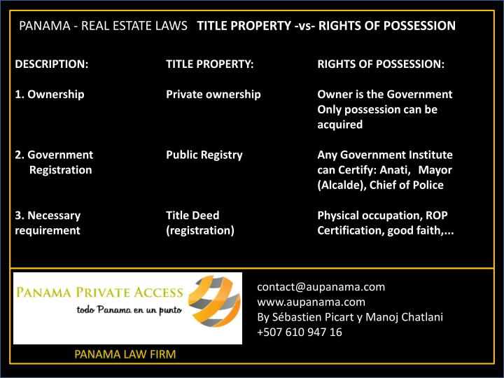 DESCRIPTION: 		TITLE PROPERTY: 		RIGHTS OF POSSESSION: