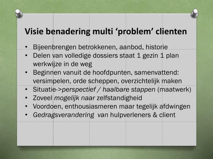Visie benadering multi 'problem' clienten