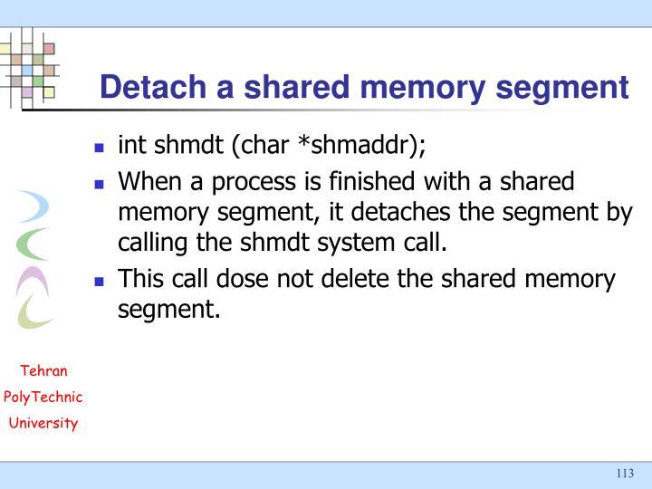 Detach a shared memory segment