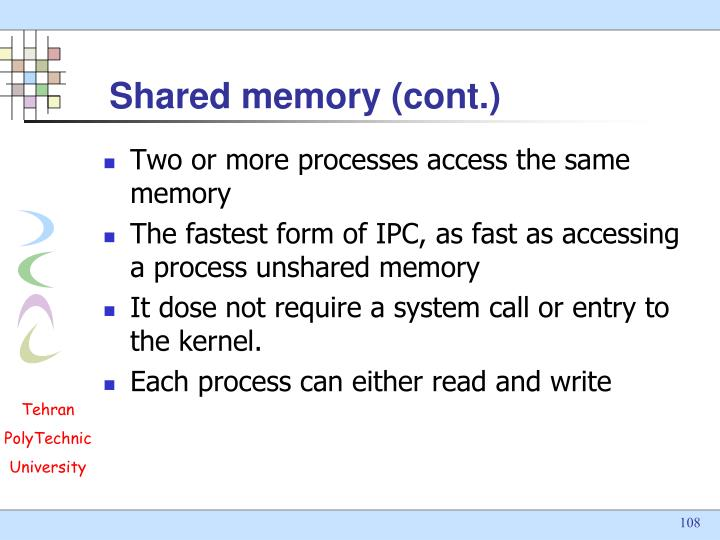 Shared memory (cont.)