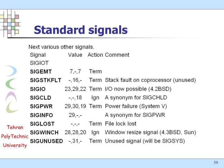 Standard signals