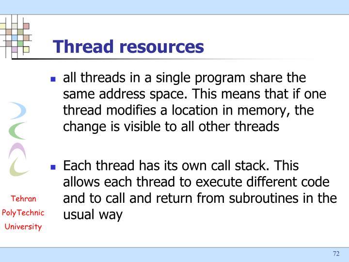 Thread resources